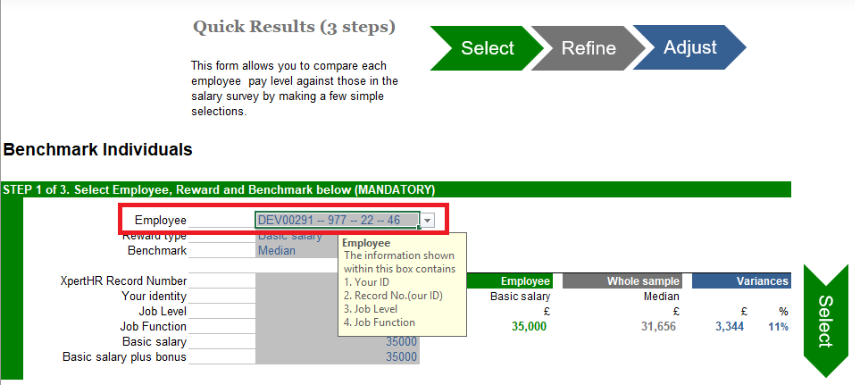 Benchmarking individuals quick results step 1